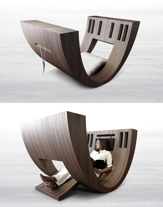 moderne Lesemöbel-Schaukelstuhl aus Holz