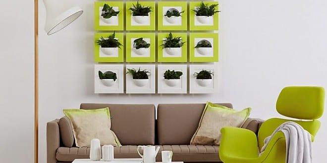 Frische Wanddekoration mit Pflanzen