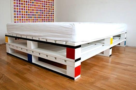 frische Idee für weißes Palletenbett