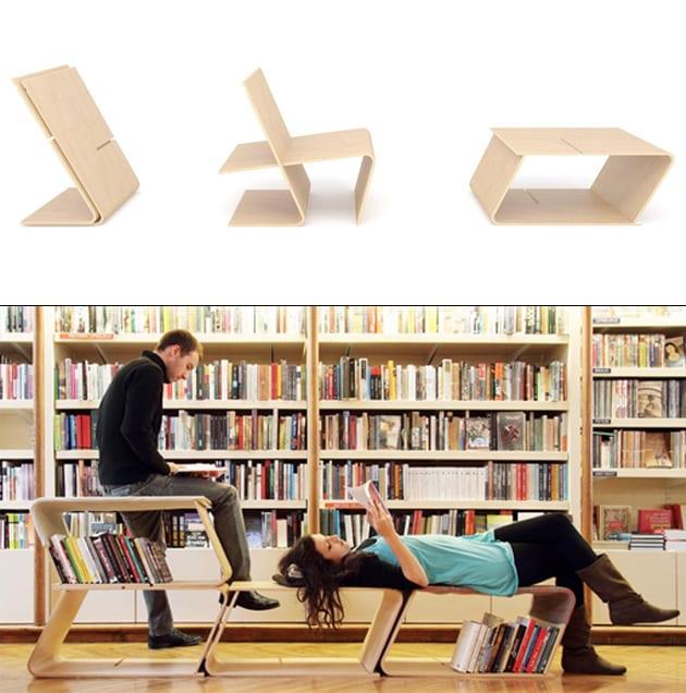 funktionelle modulare Bücheregale und Lesemöbel