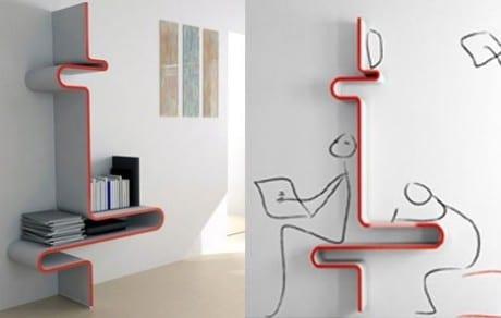 Designer-Bücherregal als Sitz-und Arbeitzplatz