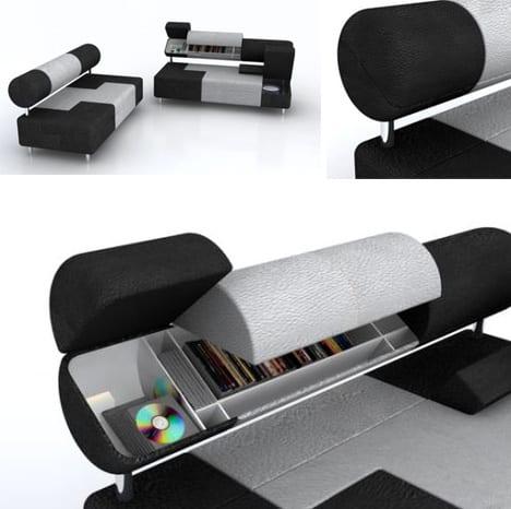 Sofa mit Rückenlehene zum Aufbewahren von Bücher und CDs