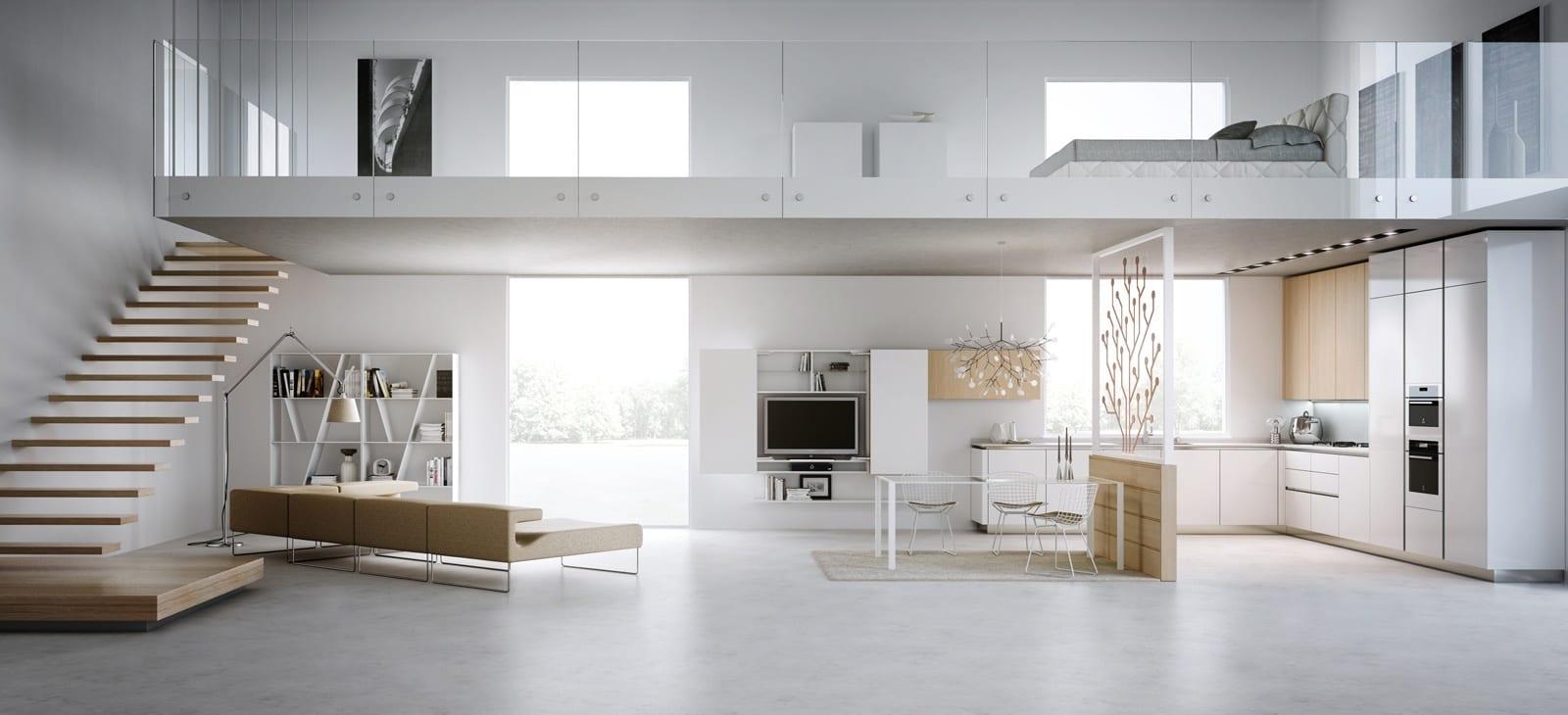 minimalistischer Loft in weiß mit Schrafbereich über dem Wohnbereich