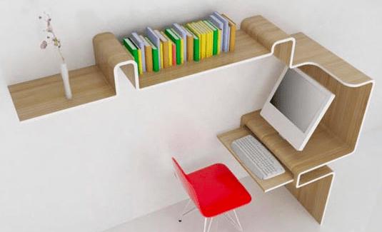 Bücheregal und Arbeitsplatz in eins