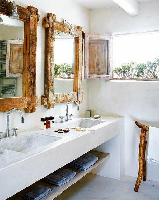 rustikale Holzeinrichtung fürs Badezimmer