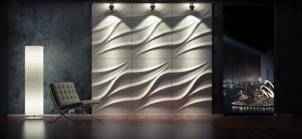 Licht- und Wandgestaltung mit 3D Wandpaneelen