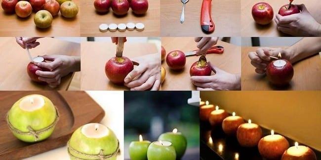 Kerzendeko-Teelichthalter aus echten Äpfeln
