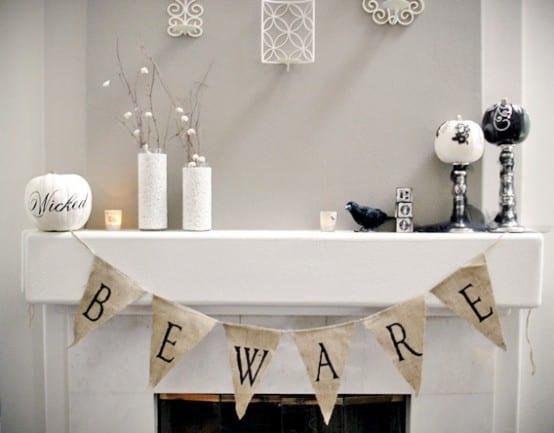 schlichte halloween deko in weiß