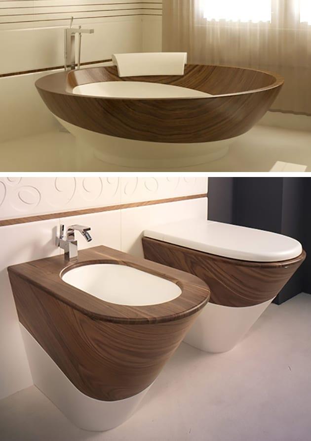 Badewanne aus Holz und Keramik