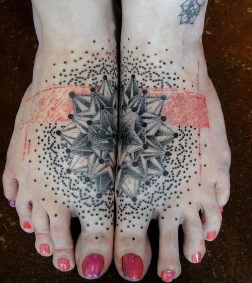 stern tattoo für zwei füße