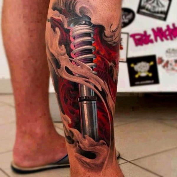 farbige Tattooidee für Bein- Männer tattoo