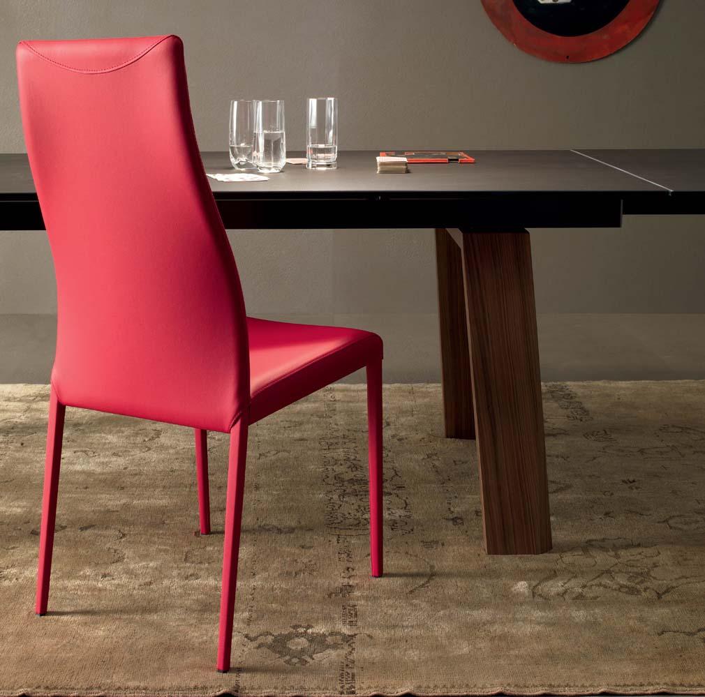 compar mobil Designer Esszimmerstuhl in rot mit Holzesstisch
