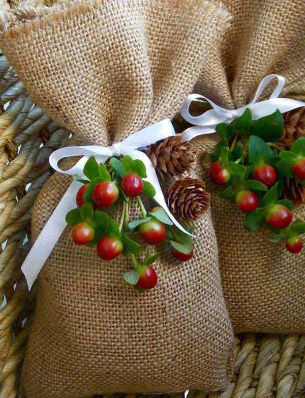 Weihnachtsgeschenkideen- Leinensack Verpackung
