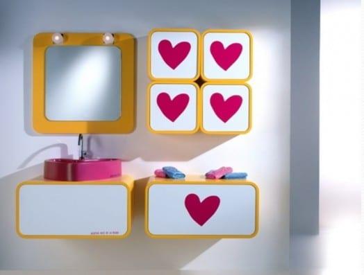 badezimmer einrichten für kinder- kinder badezimmerschränke mit herzmotiv