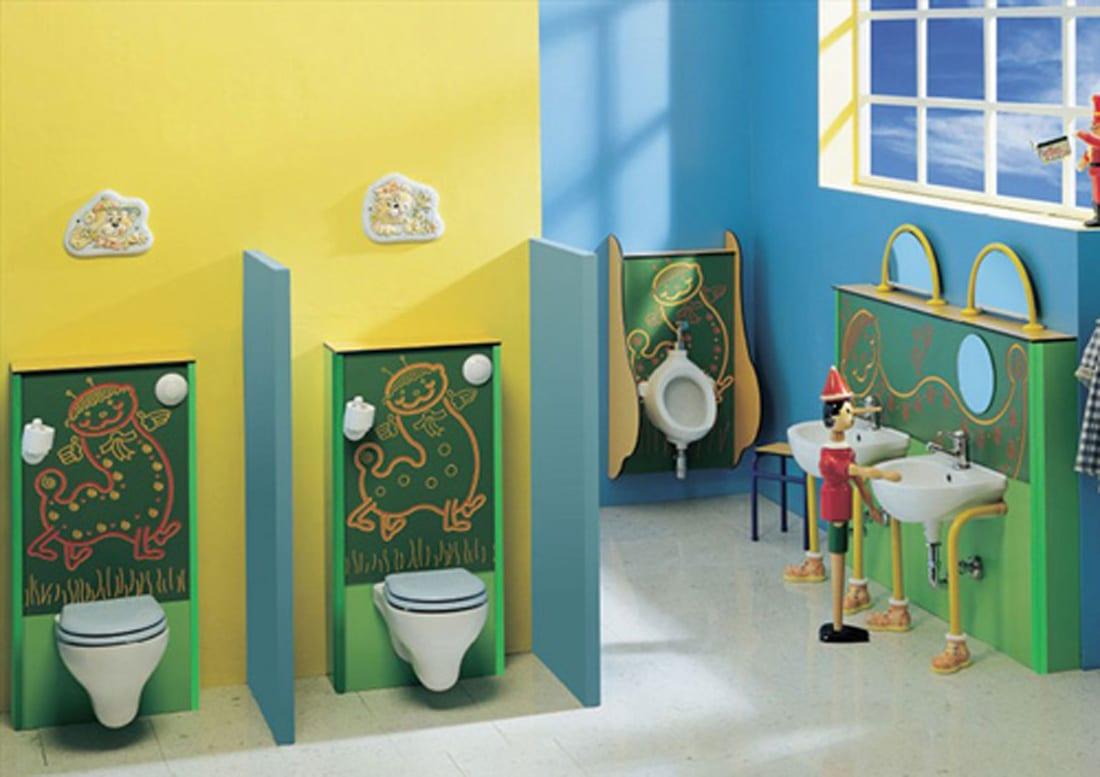 kinder badezimmer einrichtungsidee in gelb und grün