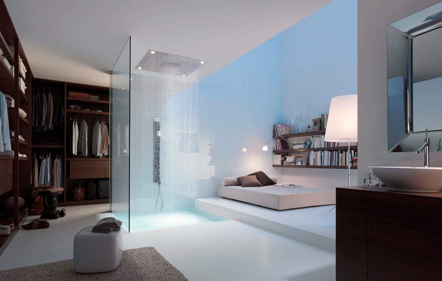 moderne Schlafzimmer Einrichtungsidee mit dusche und Ankleiderraum im schlafzimmer