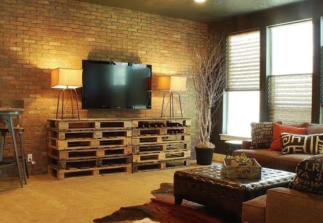 weinregal aus paletten- kreative Wohnzimmer Gestaltungsidee