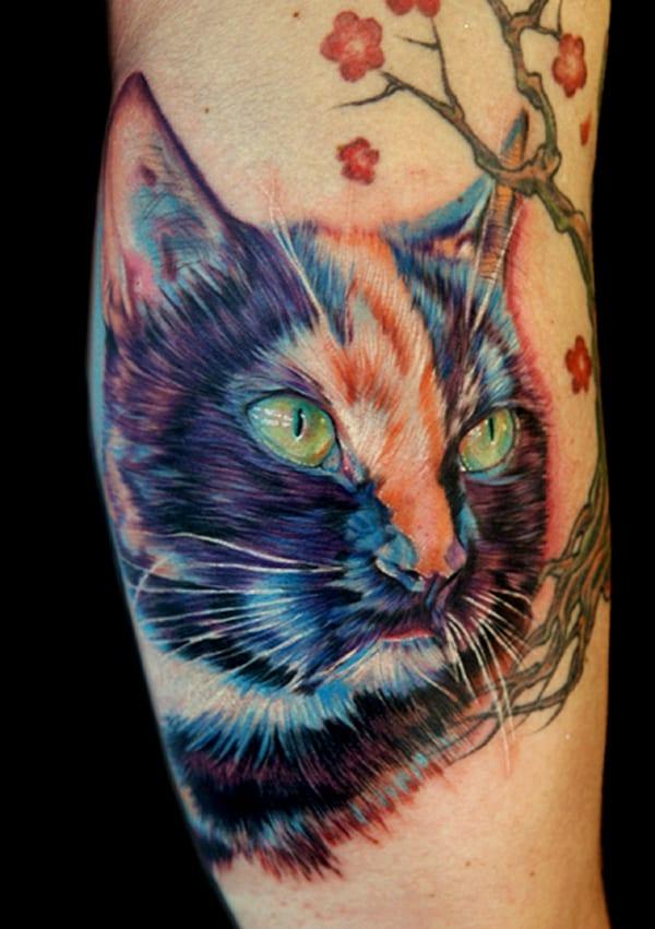 farbiges Armtattooidee-Katze Tattoo