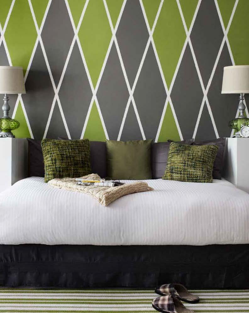 moderne Wandgestaltungsidee in grün und grau