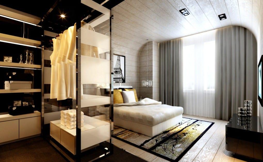moderne Schlafyimmereinrichtung in Holzbretter und offenes ankleidezimmmer mit weißen schubladen und vitrine-kleiderschrank