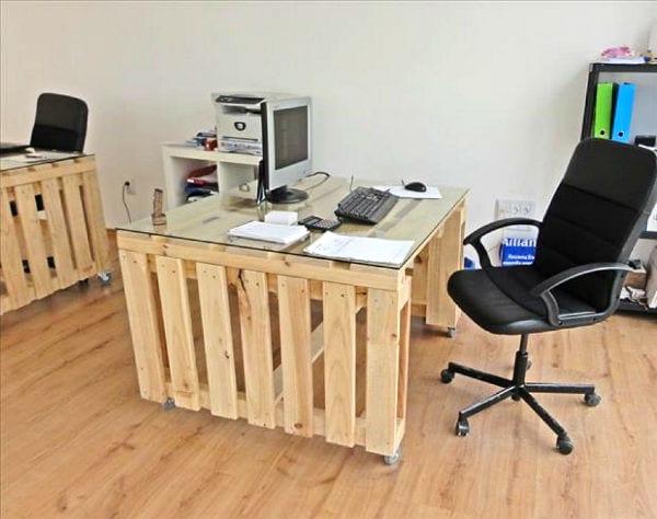 kreative ideen für möbel aus paletten- büro einrichtung aus paletten