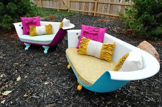 kreative Gartenmöbel aus alte Badewannen