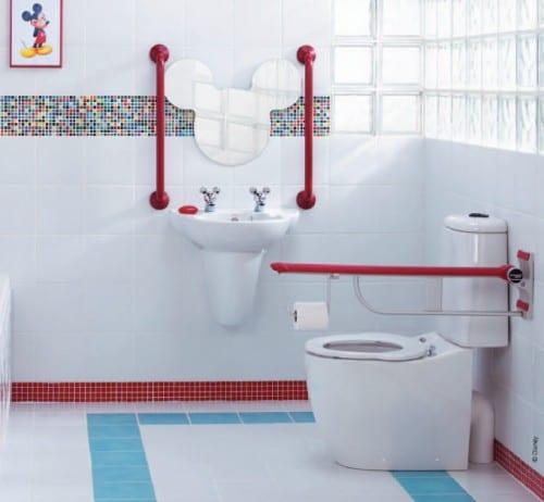 miki maus spiegel und badezimmer mosaik idee