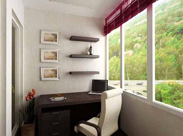 Arbeitszimmer auf dem balkon