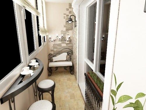 moderne Balkoneinrichtung- verglaster Balkon Design