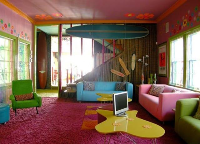 schöner wohnen Farbeinrichtungsidee - bunte Sofas