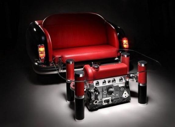 moderne Automöbel-couchtisch und sofa in rot