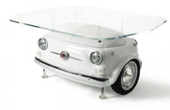designertisch aus autoteilen