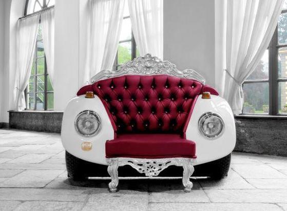 designersessel aus violettledersitz- automöbel