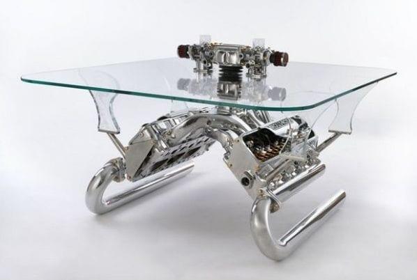 glas couchtisch aus Autoteilen