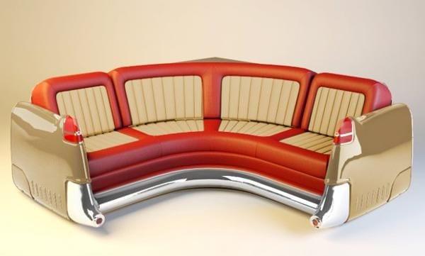 sofa aus Autositzen in rot und beige