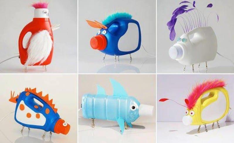 kreative bastelideen aus pet flaschen- wohndekoideen