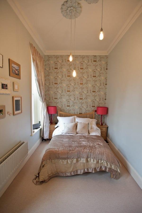 gestaltung kleiner räume-schlafzimmer wandgestaltung- nachtischlampe in pink
