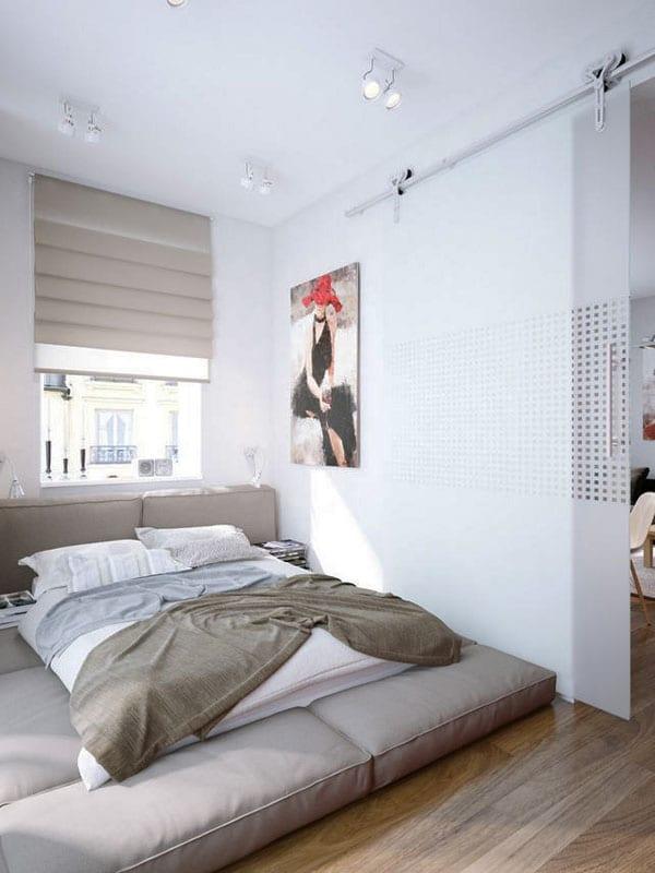 Schlafbereich mit schiebe-glastrennwand