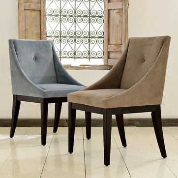 moderne gepolsterte Stühle fürs Esszimmer in beige und blau