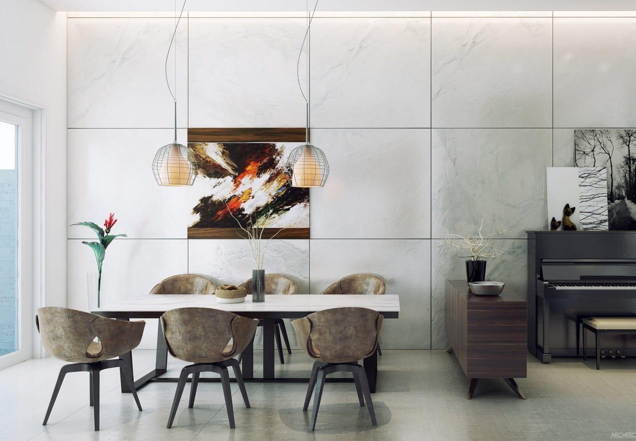 moderne Wandgestaltung fürs Esszimmer mit Designer Esszimmerstühlen und Holzkommode
