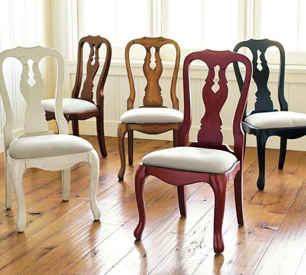 Holz-Esszimmer Stühle mit gepolsterter Sitz und bunt gestrichen