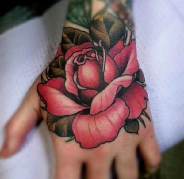 Handtätowierung-tattoo Rose