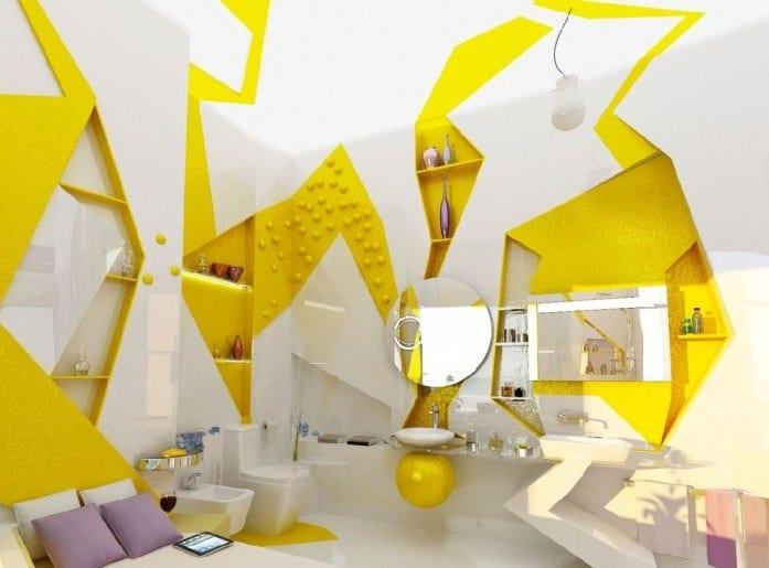 moderne Badezimmer Einrichtungsidee in weiß und gelb