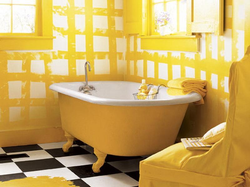 gelbe freistehende badewanne-modernes badezimmer in gelb
