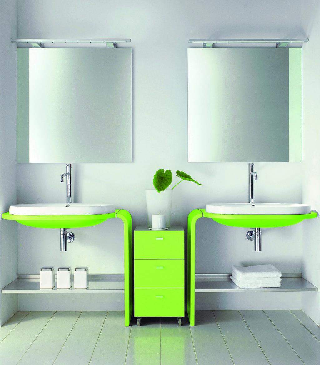 badezimmermöbel-grüne waschtisch-badezimmerspiegel mit leuchte