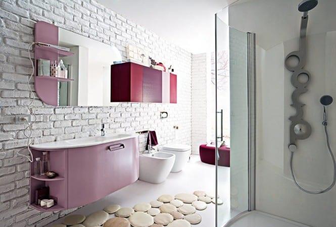 schöner wohnen badezimmer - badezimmer spiegelschrank- weiße ziegelmauerwerkwand im bad