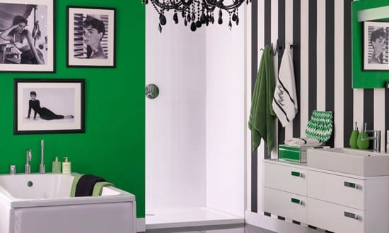 farbrausch sch ner wohnen badezimmer in schwarz und gr n freshouse. Black Bedroom Furniture Sets. Home Design Ideas