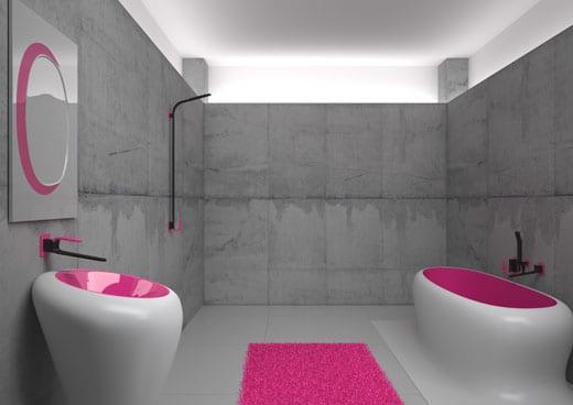 moderne badezimmermöbel- badezimmerspiegel-badezimmer idee in pink