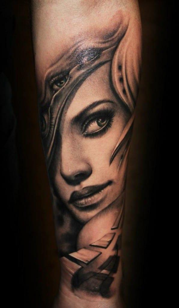 Tattooidee-unterarm tattoo-Frauenporträt