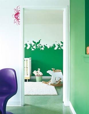 streichen ideen mit Schattenrissen in grün